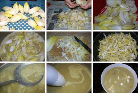 Stap voor stap recept met foto's om lekkere witloofsoep te maken
