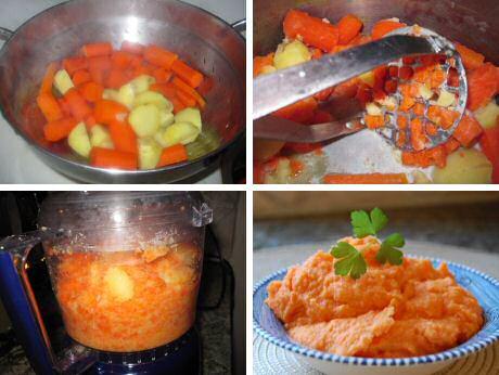 Snel en makkelijk recept om wortelpuree te maken: stap voor stap foto's: kook de groenten samen, pureer en breng verder op smaak